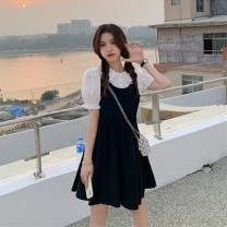 Dress Summer 2021 Peach pink dress, black dress, white shirt S. M, average size Middle-skirt singleton  Sweet Doll Collar High waist Big swing 18-24 years old Type A Lace 30% and below solar system
