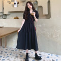 Dress Summer 2020 Blue, black Average size Mid length dress singleton  Short sleeve commute V-neck High waist Solid color Socket routine 18-24 years old Type A Korean version