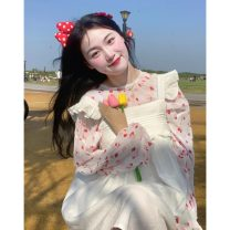 Dress Summer 2021 Average size Middle-skirt Long sleeves Sweet High waist Socket A-line skirt Flying sleeve 18-24 years old Type A Lotus leaf edge 30% and below solar system
