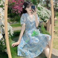 Dress Summer 2021 Malachite blue M, L Mid length dress singleton  Short sleeve Sweet High waist A-line skirt 18-24 years old Type A printing 30% and below Mori