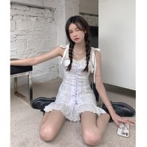 Dress Summer 2021 White dress Average size Middle-skirt singleton  commute High waist 18-24 years old Type A Korean version Lace, lace 30% and below