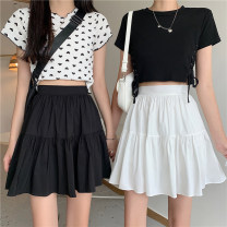 skirt Summer 2021 Average size White, black Short skirt Versatile High waist A-line skirt Solid color Type A 18-24 years old 30% and below other Splicing