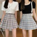 skirt Summer 2021 S,M,L,XL Purple, blue Short skirt commute High waist Pleated skirt Type A 18-24 years old 30% and below fold Korean version