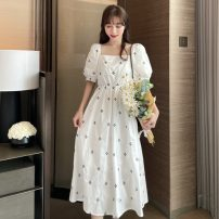 Dress Summer 2021 White, black Average size Mid length dress singleton  Short sleeve Sweet square neck High waist Decor Socket Big swing puff sleeve Others 18-24 years old Type A Embroidery, fold 30% and below solar system
