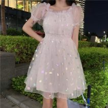 Dress Summer 2021 Picture color Average size Middle-skirt singleton  Short sleeve Sweet High waist Socket Big swing 18-24 years old Type A Fungus, gauze 30% and below solar system