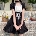 Dress Summer 2021 black S,M,L Middle-skirt singleton  Short sleeve Sweet High waist Solid color Princess Dress puff sleeve Others 18-24 years old Type A 30% and below solar system