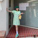 Dress Summer 2021 Purple, green, blue S, M Mid length dress singleton  Short sleeve Sweet Doll Collar High waist Dot Socket Big swing puff sleeve 18-24 years old Type A Fungus, splicing 30% and below solar system