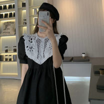 Dress Summer 2021 Blue, black Average size Mid length dress singleton  Short sleeve commute Crew neck High waist Solid color Socket A-line skirt puff sleeve 18-24 years old Type A Korean version Gouhua hollow 30% and below