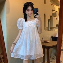 Dress Summer 2021 white Average size Middle-skirt singleton  Short sleeve Sweet square neck High waist Solid color Socket Princess Dress puff sleeve 18-24 years old Type A Lace 30% and below princess