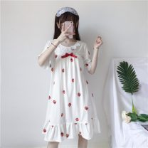Nightdress Other / other White, white premium, pink, pink premium Average size Sweet Short sleeve pajamas Middle-skirt summer Plants and flowers youth Crew neck printing Less than 20%