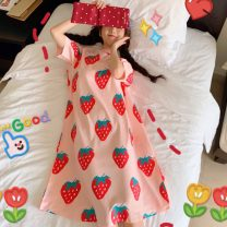 Nightdress Other / other Carrots, strawberries Average size Sweet Short sleeve pajamas longuette summer other youth Crew neck printing Less than 20%