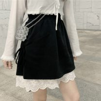 skirt Summer 2021 S,M,L black Short skirt Sweet Natural waist Irregular Solid color Type A 18-24 years old 30% and below other Lace, bandage solar system