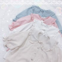 shirt Average size Summer of 2019 other 30% and below Short sleeve Sweet Short style (40cm < length ≤ 50cm) Doll Collar Single row multi button puff sleeve Solid color 18-24 years old Straight cylinder Other / other fungus solar system
