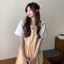 Dress Summer 2021 Apricot orange, apricot orange premium, Navy, Navy premium Average size longuette Fake two pieces Short sleeve Sweet square neck High waist Solid color Socket Big swing routine Others 18-24 years old Type A Ruffles, hollowed out, pleated, lace up, stitching 30% and below