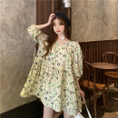 Dress Summer 2021 Decor Average size Middle-skirt singleton  Short sleeve Sweet Crew neck Loose waist Socket Big swing puff sleeve 18-24 years old Type A printing 30% and below solar system
