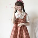 Dress Summer of 2018 Picture color Average size Middle-skirt singleton  Short sleeve Sweet Doll Collar Elastic waist lattice Single row two buttons