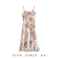 Dress Spring 2021 As shown in the figure S,M,L longuette singleton  Sleeveless commute V-neck High waist Decor Socket A-line skirt camisole Type A Other / other printing 7045OM 71% (inclusive) - 80% (inclusive) Chiffon polyester fiber