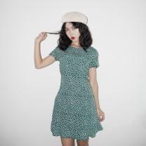 Dress Autumn of 2018 S,M,L Short skirt singleton  Long sleeves commute Crew neck High waist Others Retro
