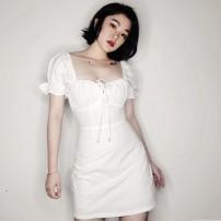 Dress Summer of 2019 white S,M,L Short skirt Short sleeve High waist Solid color zipper