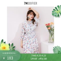 Dress Summer 2020 Yellow white black S M L Mid length dress singleton  three quarter sleeve commute V-neck High waist Broken flowers Socket Irregular skirt Lotus leaf sleeve 18-24 years old Type X 7.Modifier Korean version Ruffle lace 70013227-2 More than 95% Chiffon polyester fiber 100.00% polyester