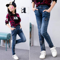 trousers Other / other female 115cm,120cm,130cm,140cm,150cm spring and autumn trousers lady There are models in the real shooting Jeans Leather belt middle-waisted Denim Don't open the crotch Cotton 80% acetate fiber (acetate fiber) 18% polyurethane elastic fiber (spandex) 2% KZ051 Class B KZ051