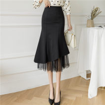 skirt Spring 2021 S,M,L,XL,2XL longuette commute High waist A-line skirt Solid color Type A 25-29 years old 71% (inclusive) - 80% (inclusive) brocade Asymmetry Korean version
