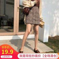 skirt Autumn 2020 S,M,L,XL,2XL Camel Short skirt Retro High waist skirt lattice Type A 18-24 years old 71% (inclusive) - 80% (inclusive) Wool other Zipper, print, 3D