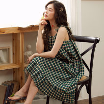 Pajamas / housewear set female Meng Baifen M,L,XL,XXL,XXXL Y2091,Y2090,Y2006,Y2011,Y2012,Y2018,Y2020,Y2010,Y2027,Y2092 cotton Sleeveless sexy pajamas summer Thin money Crew neck other Pant Socket youth one-piece garment Tether 21% (inclusive) - 40% (inclusive) pure cotton printing Y2092 Middle-skirt