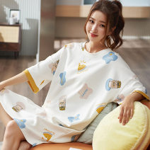 Nightdress Dreams come true Cartoon deer, avocado, pineapple, rabbit, rainbow rabbit, milk bottle, little star M,L,XL,XXL Simplicity Short sleeve pajamas Middle-skirt summer other youth Crew neck knitting printing 81% (inclusive) - 95% (inclusive) Knitted cotton fabric
