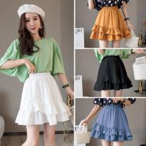 skirt Summer of 2019 S,M,L,XL,2XL Short skirt Versatile High waist Ruffle Skirt Solid color Type A 91% (inclusive) - 95% (inclusive) other Ruffles, stitching