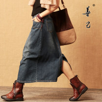 skirt Winter 2020 S,M,L,XL,2XL,3XL Denim blue longuette Retro Natural waist A-line skirt Solid color Type A 30-34 years old 51% (inclusive) - 70% (inclusive) Denim Be good to yourself cotton Make old, splice