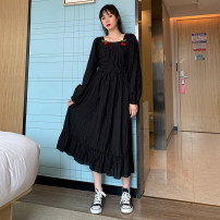 Women's large Autumn 2020 Black short sleeves, black long sleeves Large L, large XL, large XXL, large XXL, large XXXXL, large s, large M Dress singleton  Sweet easy moderate Conjoined Short sleeve Solid color square neck Medium length Polyester, cotton Three dimensional cutting puff sleeve LI-88001#