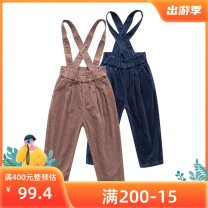 trousers Bala female 130cm,120cm,110cm,100cm,90cm Pink, denim spring and autumn trousers leisure time No model rompers Leather belt middle-waisted corduroy Don't open the crotch Cotton 100% Class B Three, two, four, five, six, seven