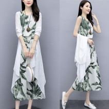 Dress Spring 2021 S,M,L,XL,2XL,3XL Mid length dress Two piece set Sleeveless commute Crew neck middle-waisted Big flower Socket A-line skirt routine 25-29 years old Type A Other / other Korean version Two piece set of leaves More than 95% hemp