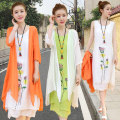 Dress Spring 2021 Orange, apricot, green, pink, white, orange, single white skirt, single apricot skirt, single green skirt, single white coat, single orange coat, apricot, green, white S,M,L,XL,2XL,3XL longuette Two piece set Long sleeves commute Crew neck Loose waist Solid color Socket A-line skirt