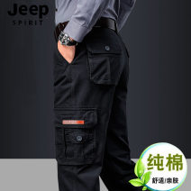 Casual pants Jeep / Jeep Fashion City Gray, green, Dark Khaki, dark blue 29,30,31,32,33,34,35,36,38,40,42 thin trousers Other leisure easy No bullet H2022# summer middle age Military brigade of tooling 2021 Medium high waist Straight cylinder Cotton 100% Overalls Pocket decoration washing Solid color