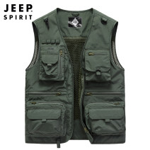 Vest / vest Fashion City Jeep / Jeep M,L,XL,2XL,3XL,4XL Army green, khaki, blue, red Travel? easy Vest thin summer No collar youth 2020 Military brigade of tooling p0163# Solid color zipper Cloth hem Polyester 100% Multiple pockets Three dimensional bag