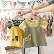 Dress Yellow, green, gray female Other / other 80cm, 90cm, 100cm, 110cm, 120cm, 130cm, free freight insurance for collection shop Cotton 95% other 5% summer Korean version Short sleeve stripe cotton Splicing style PDD1170 Class B Chinese Mainland Guangdong Province Foshan City