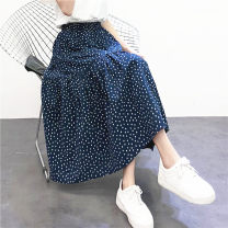 skirt Spring 2021 Xs, s, m, l, XL, not sure, remark height and weight Navy Blue longuette Versatile Natural waist Pleated skirt Broken flowers Type A