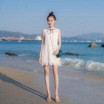 Dress Spring 2021 white XS,S,M,L Short skirt singleton  Sleeveless commute Crew neck High waist Solid color zipper A-line skirt other Others 18-24 years old Type A Other / other Korean version Bowknot, hollow out, Gouhua, hollow out, splicing, zipper SC170321 More than 95% other other