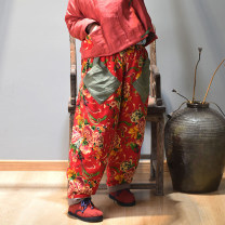 Casual pants Safflower, black flower, blue flower Average size Winter 2020 trousers Wide leg pants Natural waist commute thickening 96% and above N-3725 Other / other cotton ethnic style Make old cotton