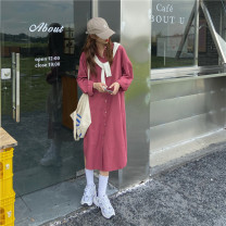 shirt Plum pink, haze blue S,M,L Spring 2021 other 51% (inclusive) - 70% (inclusive) Long sleeves commute Medium length Polo collar Single row multi button shirt sleeve Solid color 18-24 years old Straight cylinder Korean version Button, button