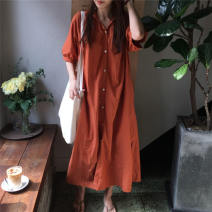 shirt Dark green, brick orange S (medium length 109), m (long length 119) Summer of 2019 other 96% and above Short sleeve commute Medium length V-neck Single row multi button raglan sleeve Solid color Straight cylinder Other / other Korean version Lace up, button
