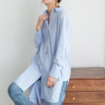 shirt Light blue, white S,M,L,XL,2XL Spring of 2019 other 51% (inclusive) - 70% (inclusive) Long sleeves commute Medium length Polo collar Single row multi button Bat sleeve Solid color Straight cylinder Korean version Button