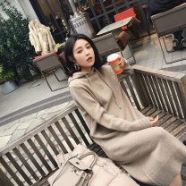 Dress Autumn of 2019 Apricot, camel, black S,M,L,XL Mid length dress singleton  Long sleeves commute Hood High waist Solid color Socket One pace skirt routine 18-24 years old Type H Korean version 51% (inclusive) - 70% (inclusive) other
