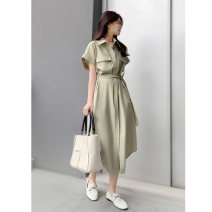 Dress Spring 2021 Cream apricot, milk salt mint green, cream apricot - pre-sale, milk salt mint green - pre-sale 36-S,38-M,40-L,42-XL Mid length dress singleton  Short sleeve commute Polo collar High waist Solid color Single breasted other routine Others 30-34 years old Type X Niu Zi and Dunzi other