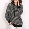 Sweater / sweater Autumn of 2018 Black and white bar S M L XL Long sleeves routine singleton  routine Hood commute stripe 91% (inclusive) - 95% (inclusive) cotton cotton
