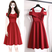 Dress Summer 2020 Black, blue, red, pink M,L,XL,2XL,3XL,4XL Mid length dress singleton  Short sleeve Sweet One word collar High waist Solid color other A-line skirt other camisole 18-24 years old Type A 51% (inclusive) - 70% (inclusive) other polyester fiber