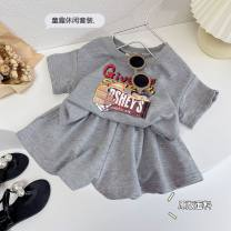 suit Other / other grey The height of tag 7 is about 90cm, tag 9 is about 100cm, tag 11 is about 110cm, tag 13 is about 120cm and tag 15 is about 130cm female summer Korean version Short sleeve + skirt 2 pieces routine No model Socket nothing 3, 4, 5, 6, 7