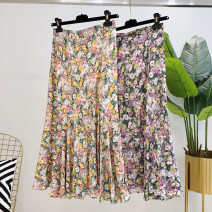 skirt Spring 2021 S,M,L,XL,2XL Pink, purple Mid length dress commute High waist Pleated skirt Decor Type A 25-29 years old More than 95% Korean version